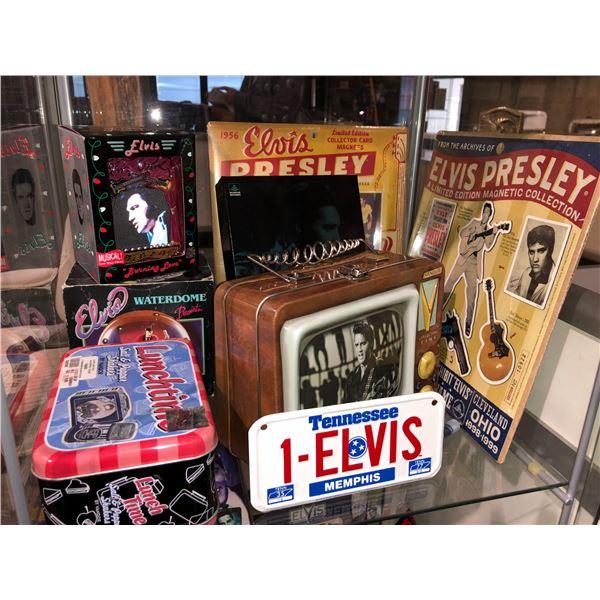 Shelf lot of assorted Elvis Presley memorabilia - metal lunch box/ salt & pepper shakers/ limited ed