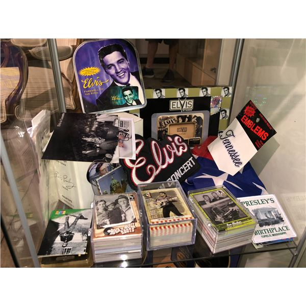 Shelf lot of assorted Elvis Presley memorabilia - sew-on patch/ collector's trading cards/ Farewell
