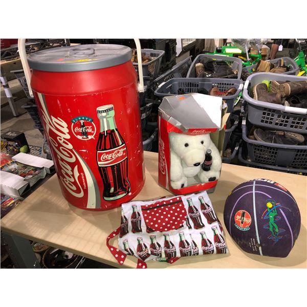 Group of 4 collectible Coca Cola items - large Coke can cooler/ Coke polar bear/ deflated basketball