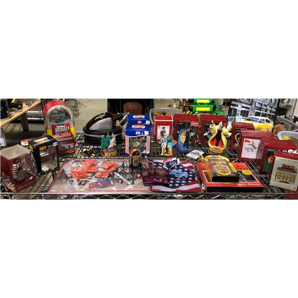 Shelf lot of assorted nostalgic Hollywood & band collectibles - Christmas tree ornaments/ figurines