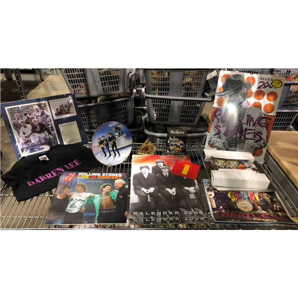 Shelf lot of assorted Beatles/ Rolling Stones & Beach Boys memorabilia - collector's plates/ calenda