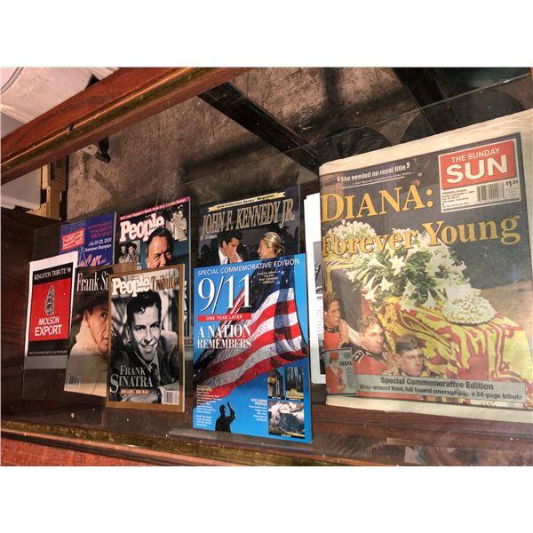 Showcase filled w/ assorted nostalgic magazines Frank Sinatra/ John F. Kennedy Jr./ Princess Diana e