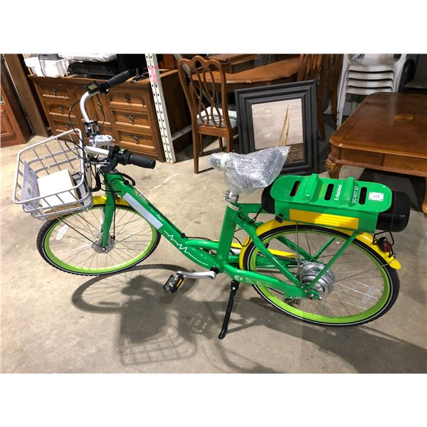 """""""NEW"""" E-Assisted electric bicycle - GPS tracked w/ charger & battery pack green & yellow"""