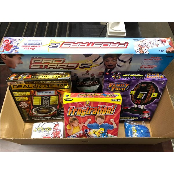 Box of 7 new games & toys