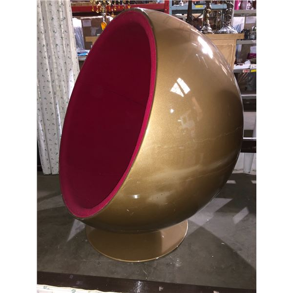 Mid-century modern egg chair - gold finish w/ red upholstered lining - good condition swivels very n