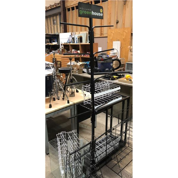 Group of 8 assorted store display stands & racks