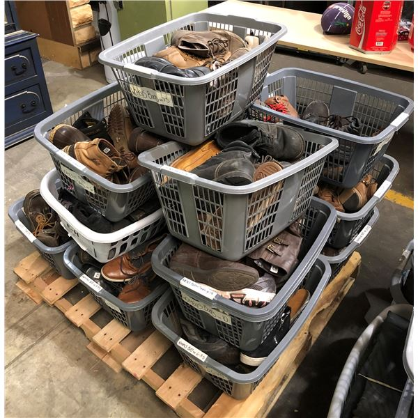 Pallet lot of 14 gray laundry baskets filled w/ assorted boots & shoes from the show