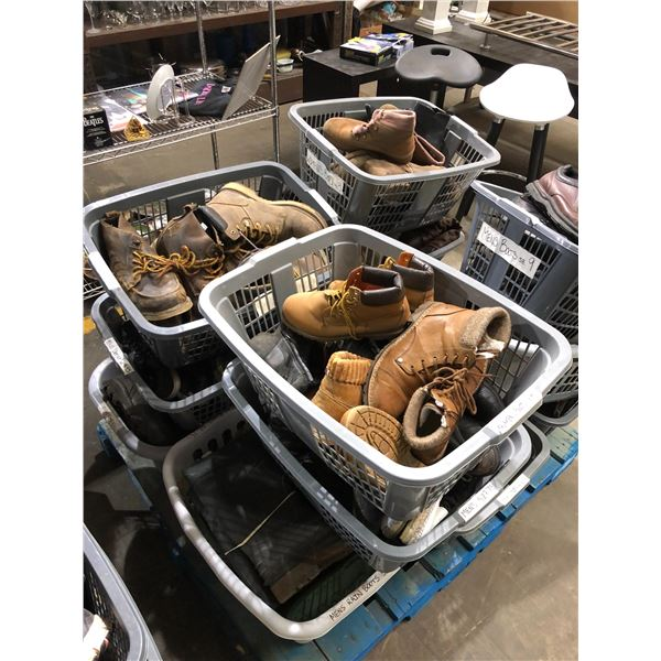 Pallet lot of 13 gray laundry baskets filled w/ assorted boots & shoes from the show