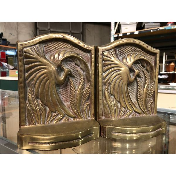 Pair of heavy solid brass phoenix motif bookends