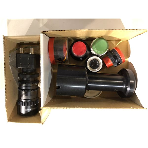 Two boxes of assorted vintage camera lenses