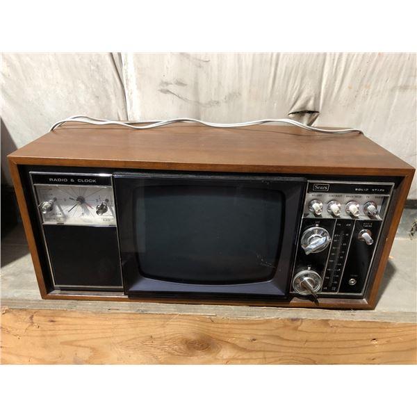 Vintage Sears solid state radio & clock w/ built-in TV
