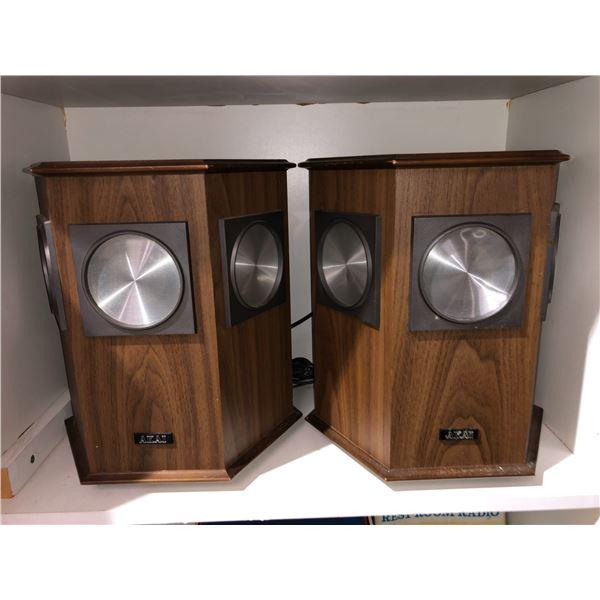 Pair of vintage AKAI home audio speakers