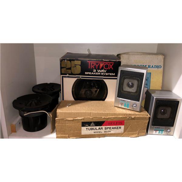 Group of assorted vintage speakers & restroom radio