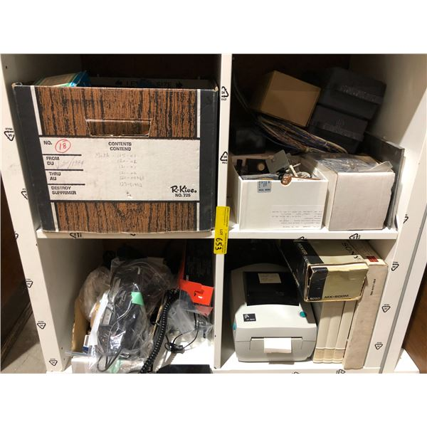 Four small cubbies filled w/ assorted audio file parts & accessories - capacitors/ assorted parts/ e