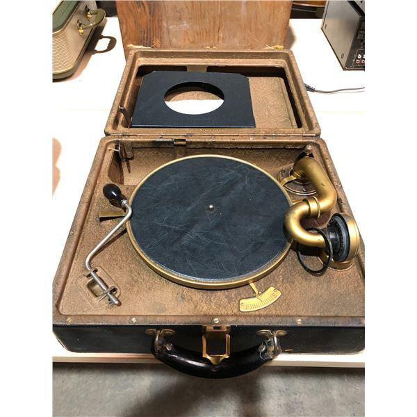 Vintage RCA Victrola portable crank arm turn table