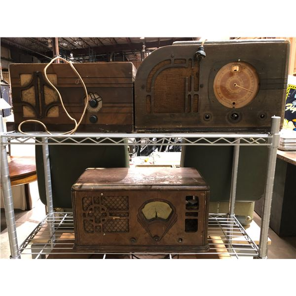 Three vintage table top tube radios (FOR PARTS OR REPAIR ONLY)