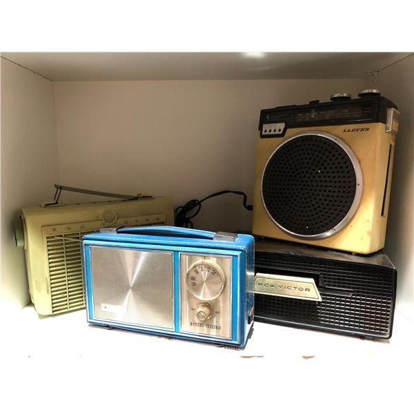 Group of 4 vintage transistor radios - Blue Sparrow/ RCA Victor/ RCA Victor & Lloyd's