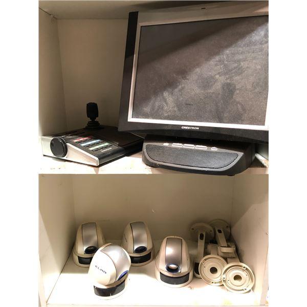 Crestron surveillance security monitor w/ matching Crestron joystick controller & set of 4 Elmo secu