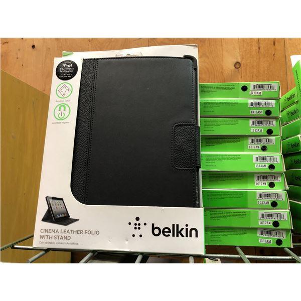 Group of 10 Belkin new black iPad cases - cinema leather folio w/ stand