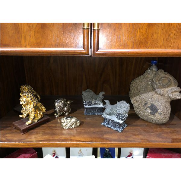 Group of 7 assorted decorative ornaments - stone sculpture/ stone foodogs/ incense burners/ etc.