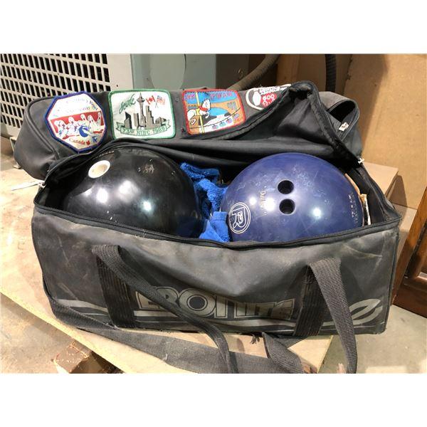 Two bowling balls w/ carrying bag