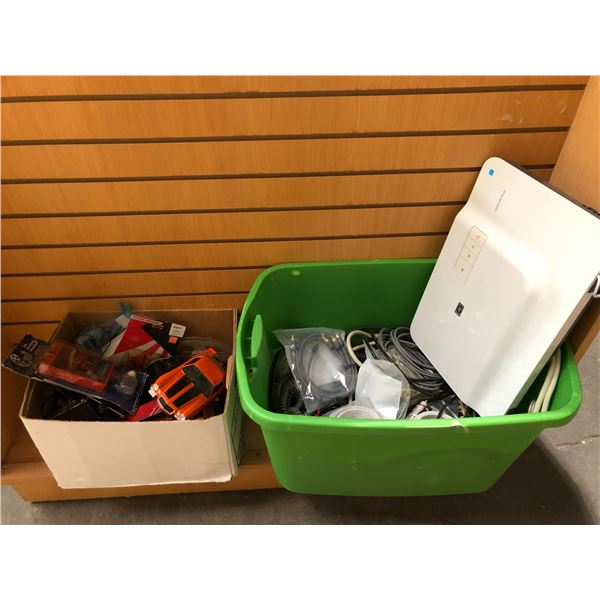 Two boxes of assorted electronics/ electronic accessories & mics. vintage items