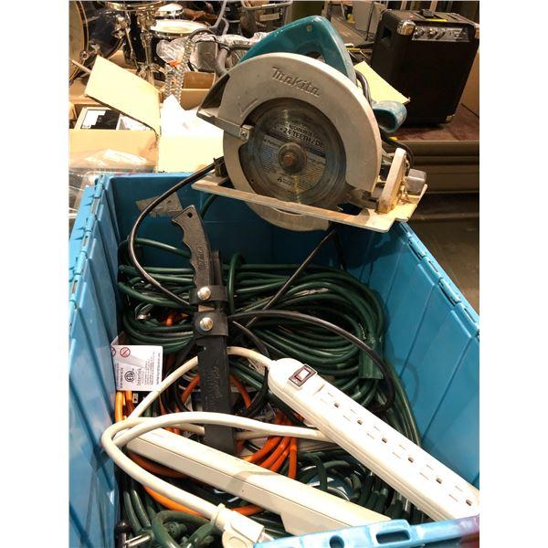 Makita circular saw/ assorted extension cords & power bars/ fisherman's fillet knives & blue plastic