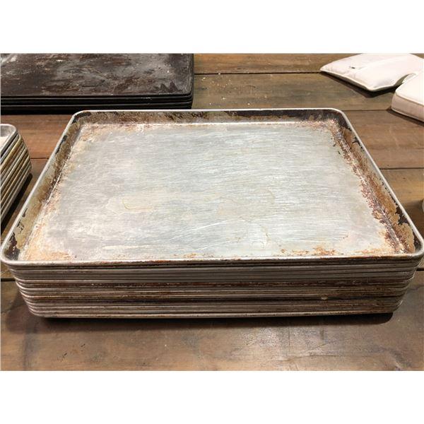 Group of 15 large aluminum baking sheets