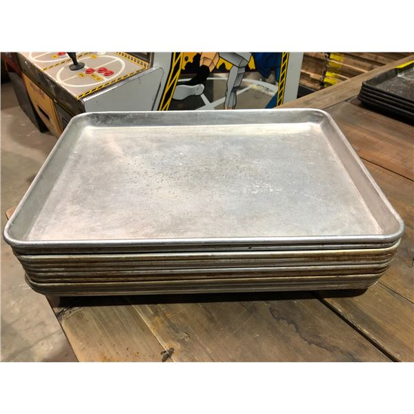 Group of 11 small aluminum baking sheets