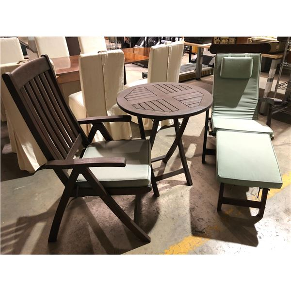 Three pc. Outdoor wooden patio set - folding chair/ folding table & folding lounge chair