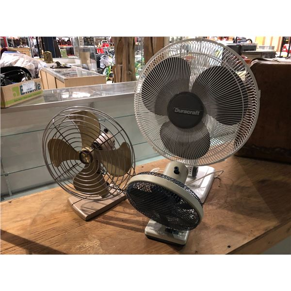 Group of 3 assorted room fans