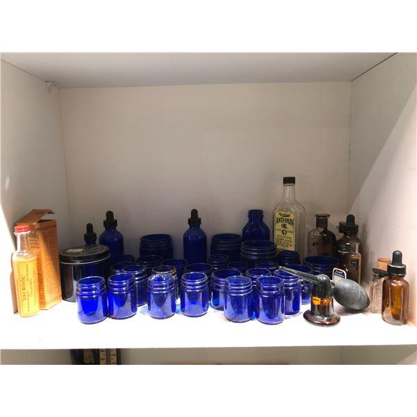 Shelf lot of assorted vintage medicine bottles - approx. 45 pcs.
