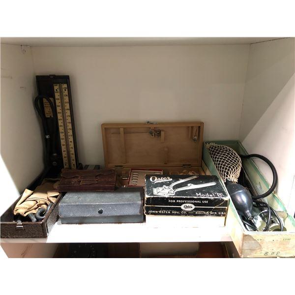 Shelf lot of vintage assorted doctors equipment & instruments