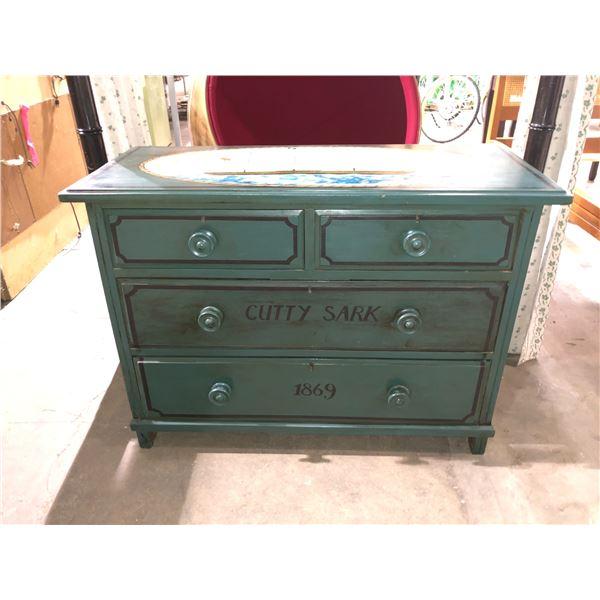 Antique 4 drawer low boy dresser w/ painted Cutty Sark 1869 nautical sailing ship motif - comes w/ k
