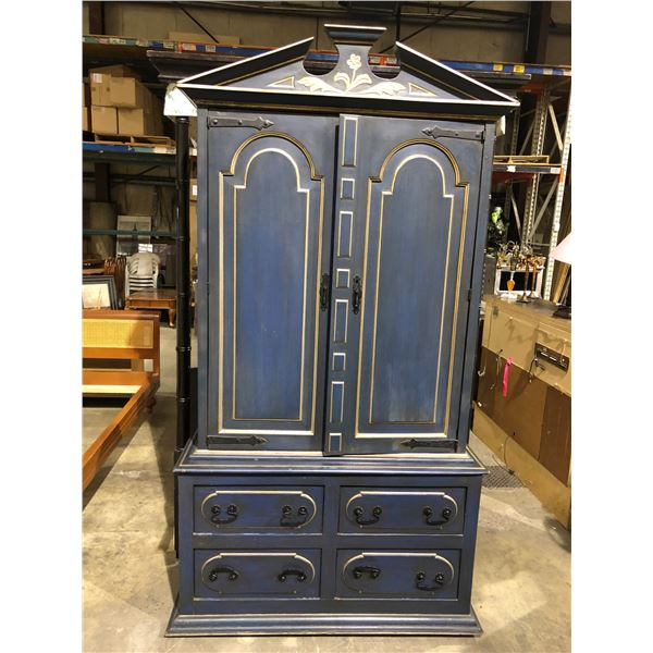 Antique approx. 7ft tall wardrobe/ storage cabinet painted blue w/ silverish trim & rot iron accents