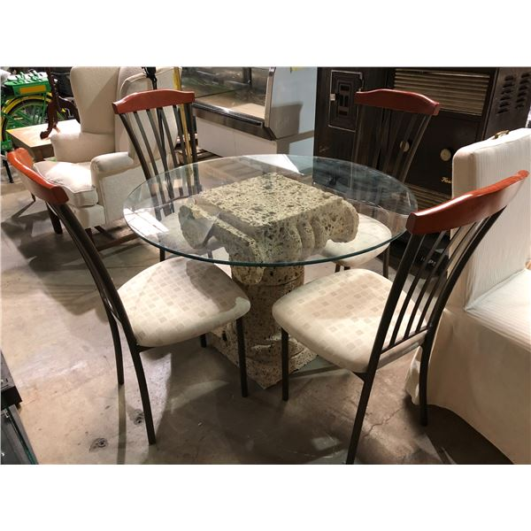 Contemporary round glass top w/ stone colour pedestal dining table w/ 4 chairs