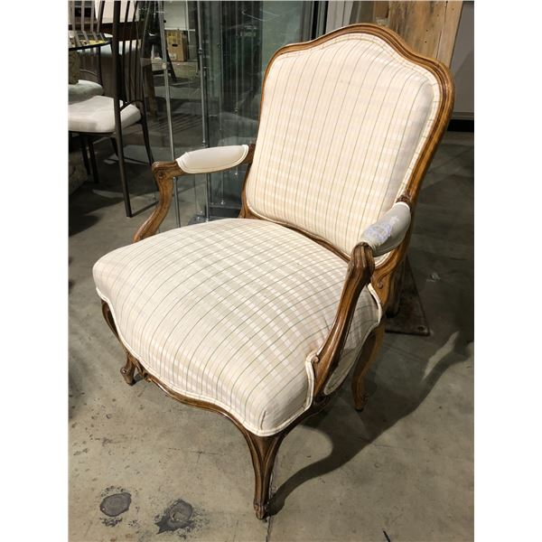 French provincial white upholstered wood framed arm chair (wear present on arm rest only)
