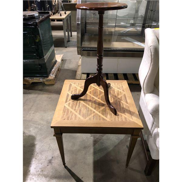 Square mahogany end table & single pedestal mahogany wine table