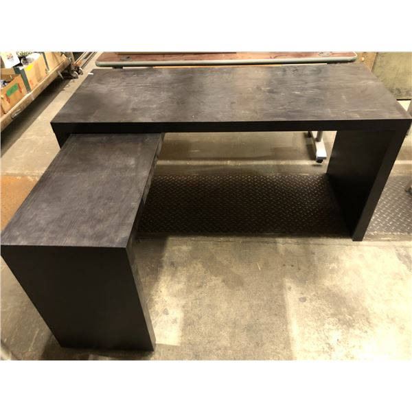Contemporary black oak finish desk w/ pull-out run off