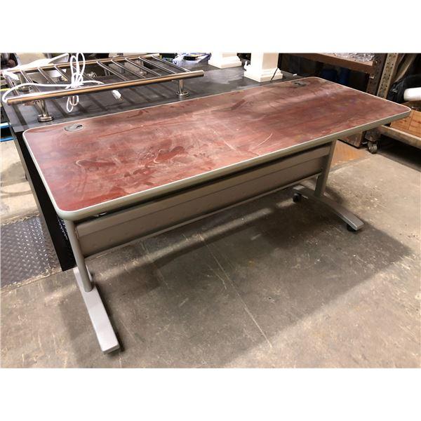 Burgundy & Grey rolling desk/ workstation
