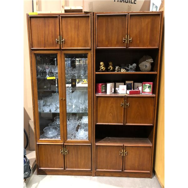 Two pc. glass front display cabinet wall unit