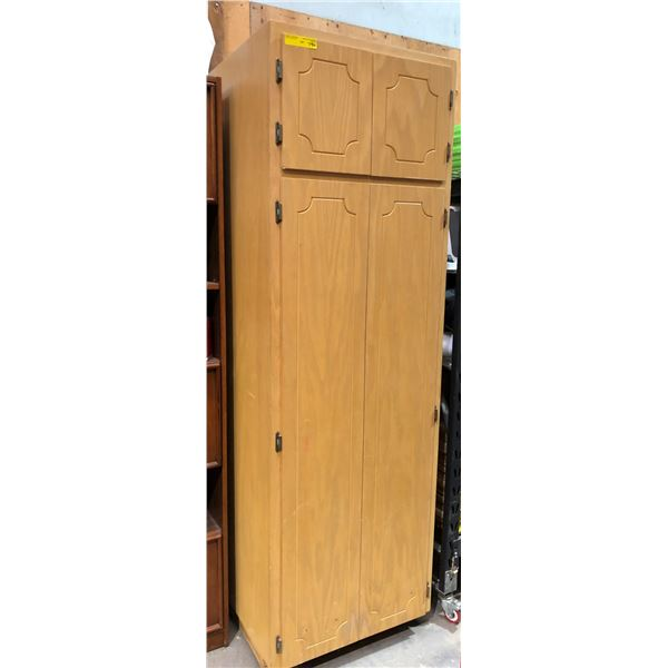 Approx. 7ft tall x 2ft wide wooden pantry cabinet
