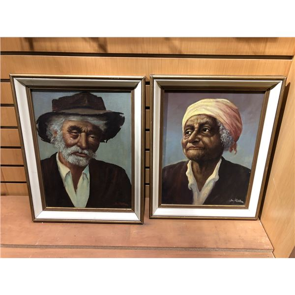 Two framed original oil on canvas paintings - portrait signed by artist bottom right corner