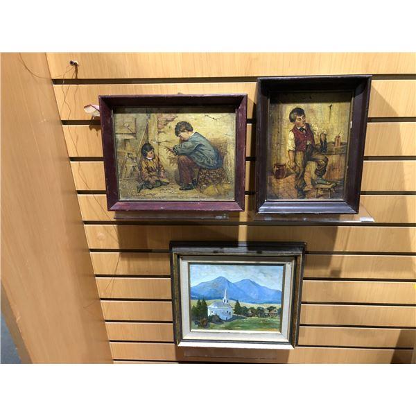 Group of 3 framed original oil on board paintings - mountain side white church signed by artist bott