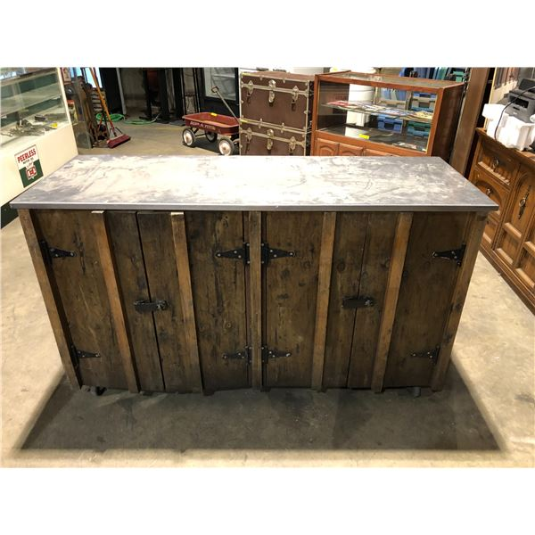 Stainless steel top w/ rustic wooden door rolling bar cabinet from the show