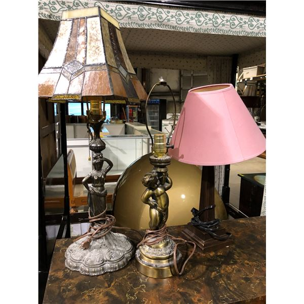Group of 3 assorted metal base table lamps - stain glass figural lady/ cherub base lamp & pillar sha