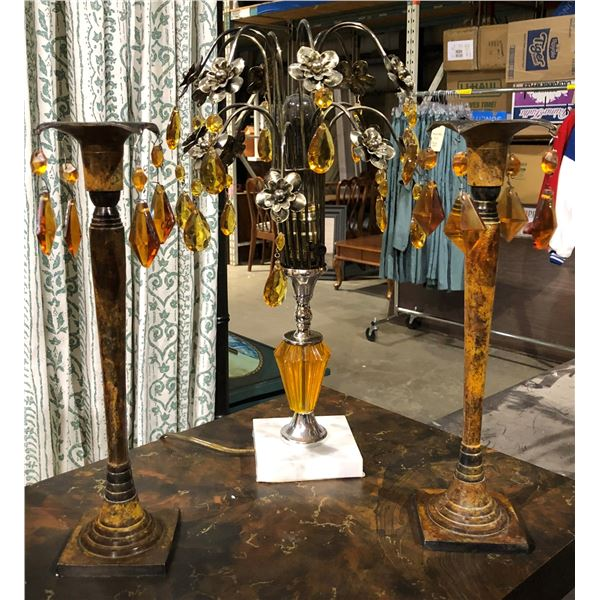 Three pc. amber color glass vintage table lamp & 2 candle stands