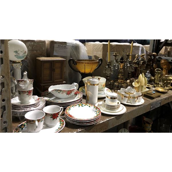 Large shelf lot of assorted household items - dishware set/ candle holders/ figurines/ brassware/ co