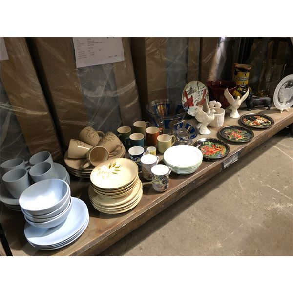 Shelf lot of assorted household items - dishware sets/ figurines/ flower vases/ collector's plates e