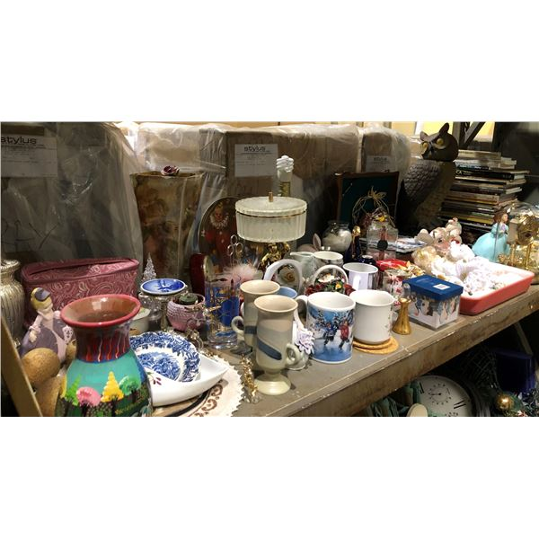 Large shelf lot of assorted household items - books/ knick knacks & collectibles